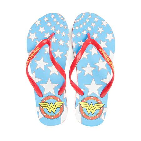 - DC Comics Wonder Woman Printed Logo Womens Flip Flop Sandals | L