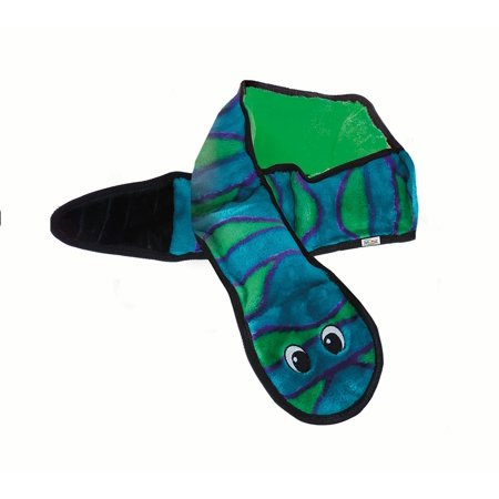 Squeak Plush (Invincibles Snake Stuffingless Durable Tough Plush Dog Squeaky Toy with 6 Squeakers by Outward Hound, Large, Blue and Green )