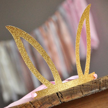 Pink and Gold Some Bunny is One Party Favor Crowns(set of 5). Pink and Gold Bunny Ear Headband. Bunny Party Favors.](Bunny Party Supplies)