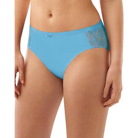 Bali Lace Desire Cotton Hi-Cut Brief - Mid Sky Blue w/Lace Bow - 8