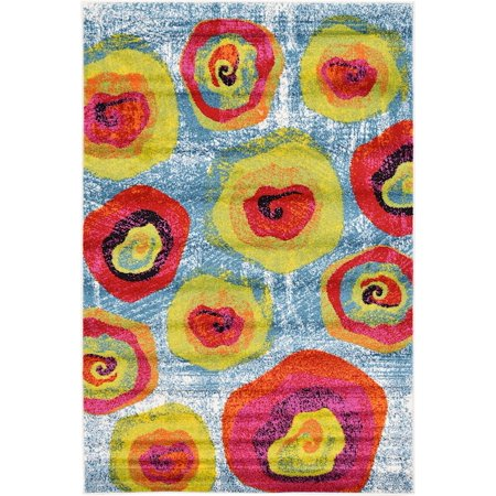 Contemporary Arles Collection Area Rug in Swirls Color and Rectangle, Round, Runner Shape
