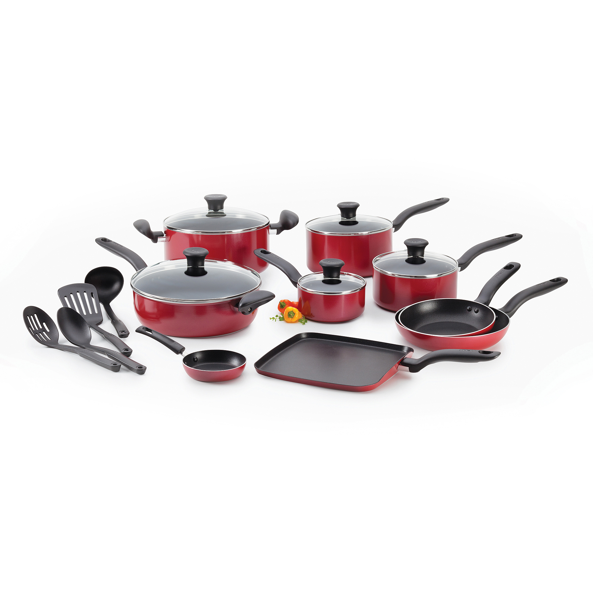 T-Fal Initiatives Non-Stick 18-Piece Set, Red