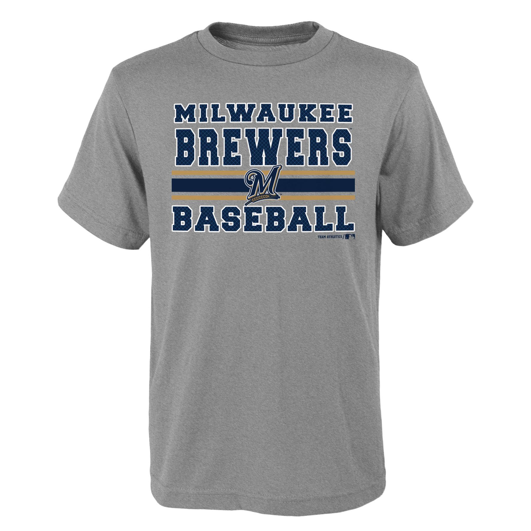 MLB Milwaukee BREWERS TEE Short Sleeve Boys OPP 90% Cotton 10% Polyester Gray Team Tee 4-18