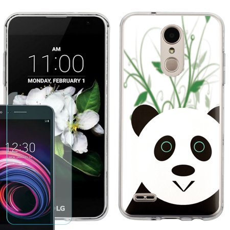 Phone Case for LG Aristo 2, LG Tribute Dynasty , Slim-Fit TPU Case with  Tempered Glass Screen Protector, by OneToughShield ® - Panda