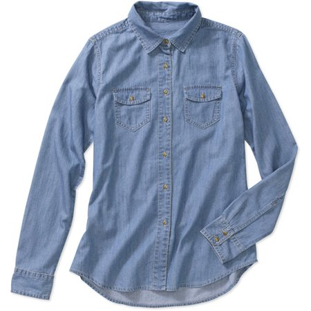 faded glory women 39 s basic denim shirt