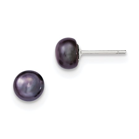 Cultured Pearl Pearl Brooch - Sterling Silver 7-8mm Black FW Cultured Pearl Button Earrings