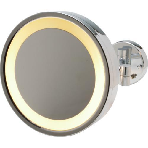 "Jerdon 9.75"" Halo-Lighted Wall Mount Mirror with 3x Magnification, 15"" Extension, Chrome"