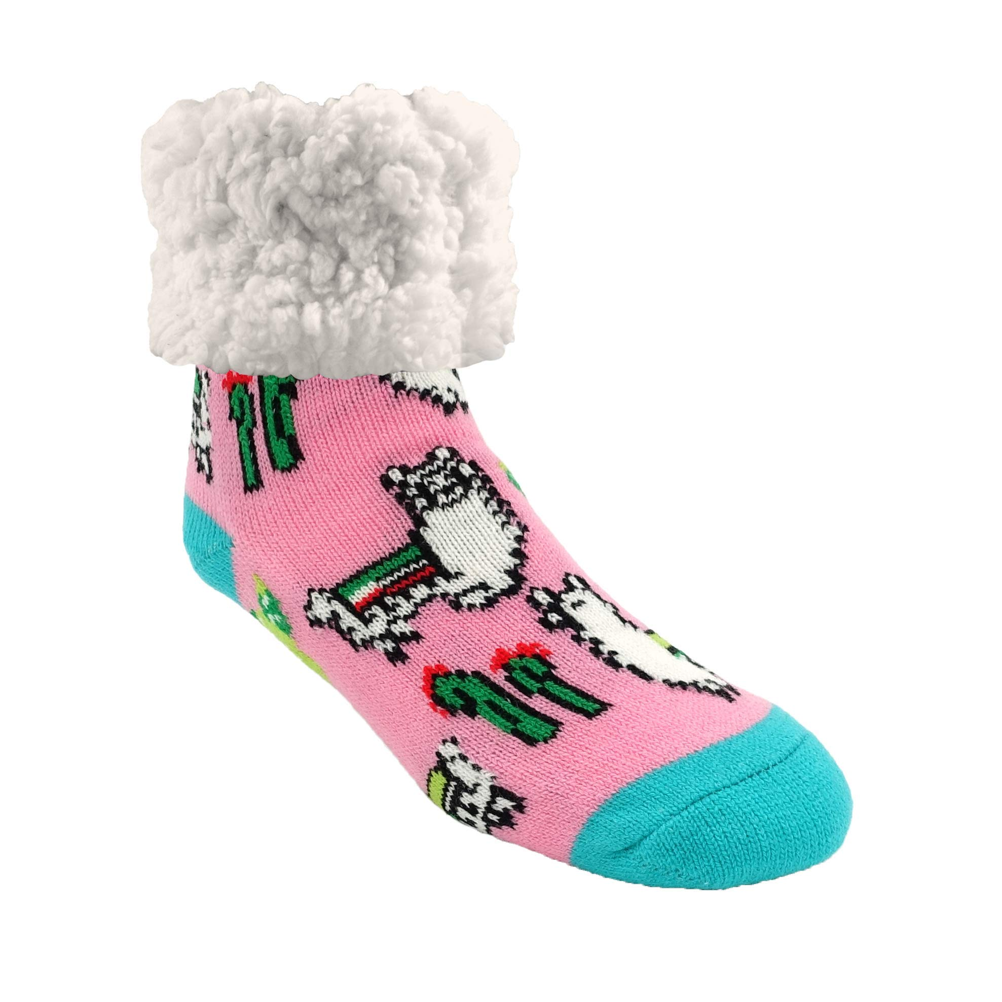 Pudus Cozy Winter Slipper Socks Women /& Men w Non-Slip Grippers Faux Fur Sherpa