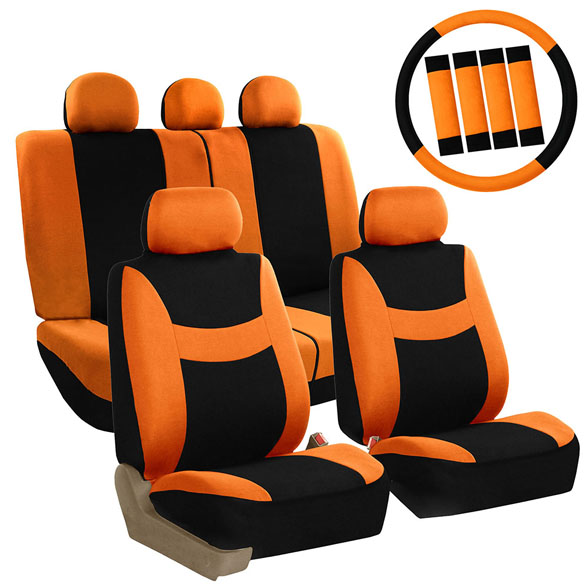 FH Group Light & Breezy Orange and Black Auto Accessories Set, with Steering Wheel Cover and Seat Belt Pads, Airbag Compatible and Split Bench Full Set Seat Covers