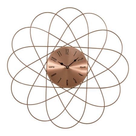 """24"""" Mid-Century Orbit Copper Metal Quartz Clock"""