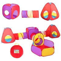 Costway 7pc Kids Ball Pit Play Tents & Tunnels Pop Up Baby Toy Gifts