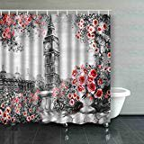 WOPOP Painting Summer London Gentle City Landscape Flower Rose Leaf View From Above Balcony Big Ben England Watercolor Shower Curtain Polyester Bathroom Curtain 60x72 inches