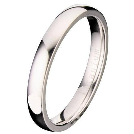 3MM Polished Comfort Fit Titanium Wedding Ring Band 3mm Comfort Fit Band