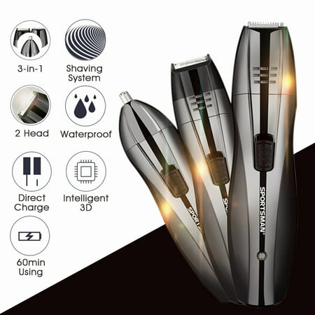 Hair Shavers Clipper,3 in 1 Rechargeable Cordless Electric Hair Shavers Clipper Body Nose Ear Beard Mustache Trimmer,Stainless Steel Blade, Barber Haircut Grooming Kit For