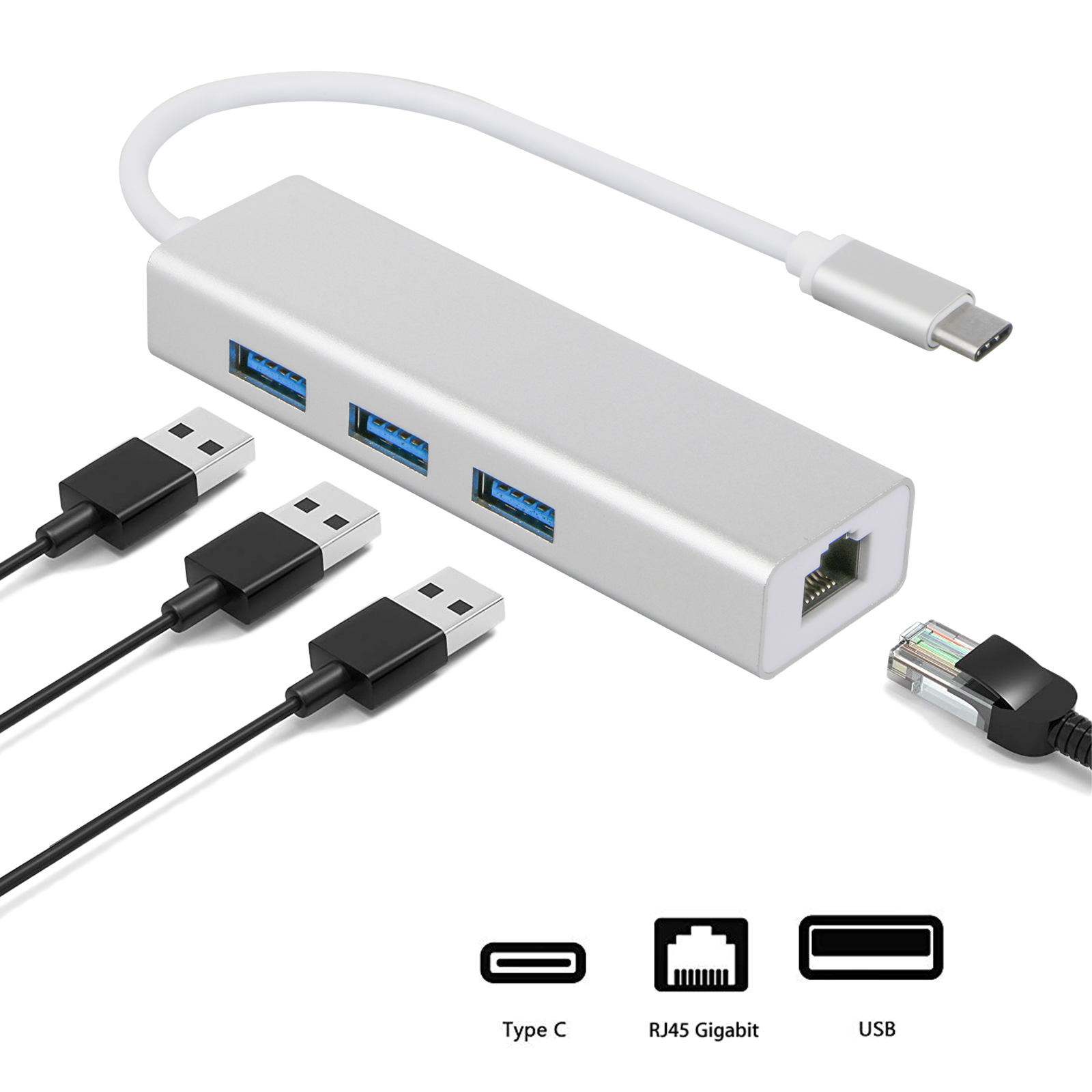 Type C to 3-Port USB 3.0 Hub Ethernet Lan RJ45 Network Adapter for Mac PC