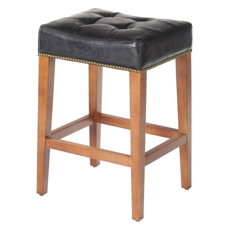 Nashville 26 Inch Counter Stool, Vintage Black Leather, Brass Nailhead Trim