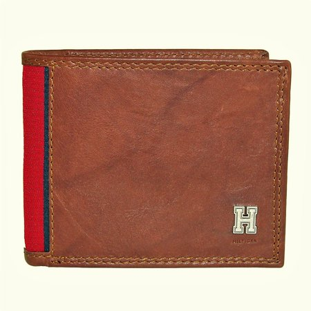 Tommy Hilfiger Men's Leather Huck Traveler Passcase Bifold Wallet Organized Travelers Leather