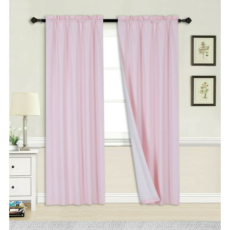 2PC PINK BLACKOUT PANEL LINEN WHITE BACKING ROD POCKET PRIVACY WINDOW CURTAIN TREATMENT 37