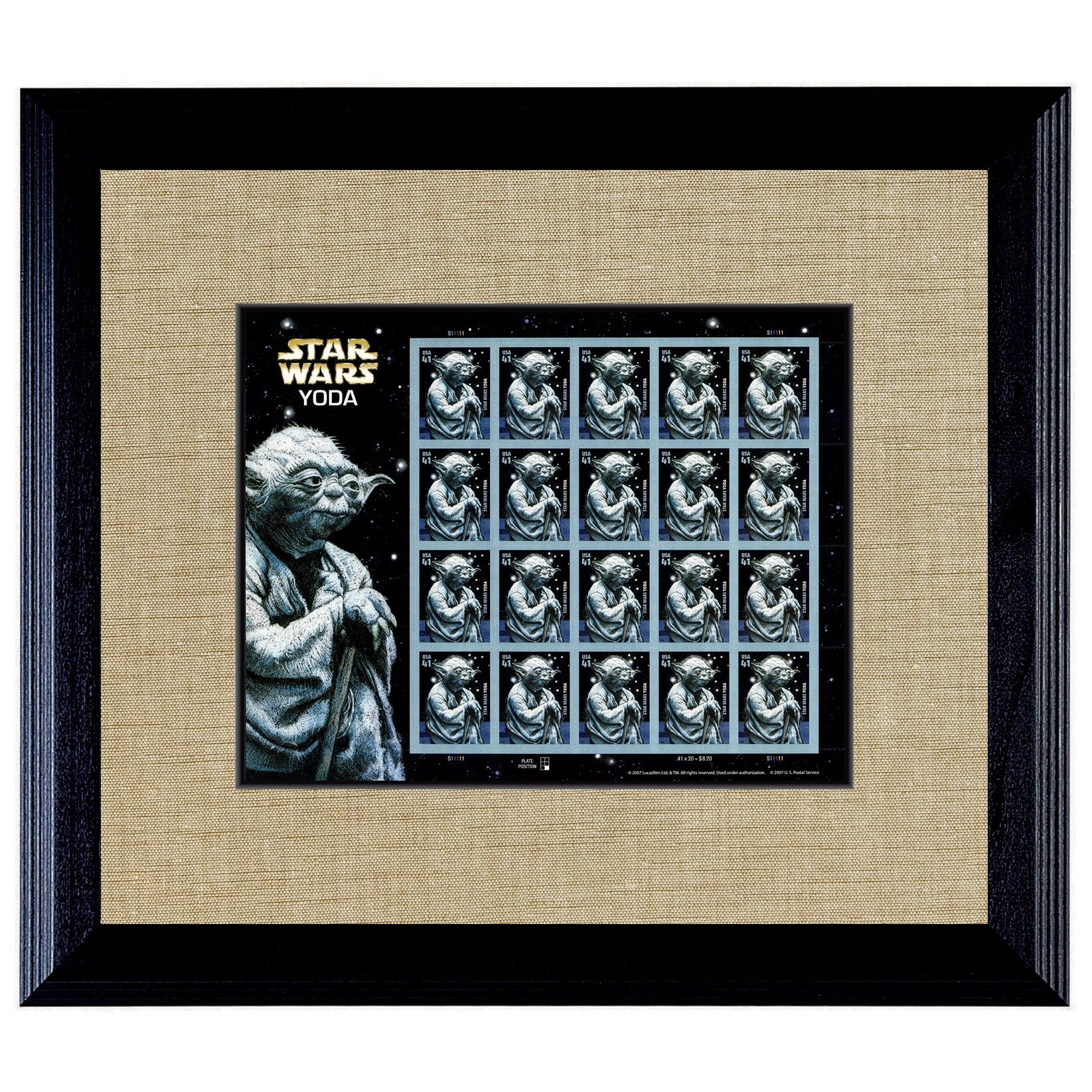 American Coin Treasures  Star Wars Yoda U.S. Stamp Sheet in 16-inch x 14-inch Wood Frame
