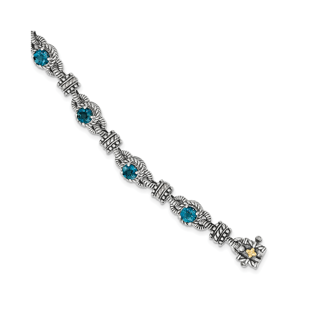 Sterling Silver w 14k London Blue Topaz Bracelet by Kevin Jewelers