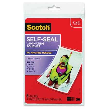 Scotch Self-Sealing Laminating Pouches 5 Pack, 4in. x 6in. Sheets