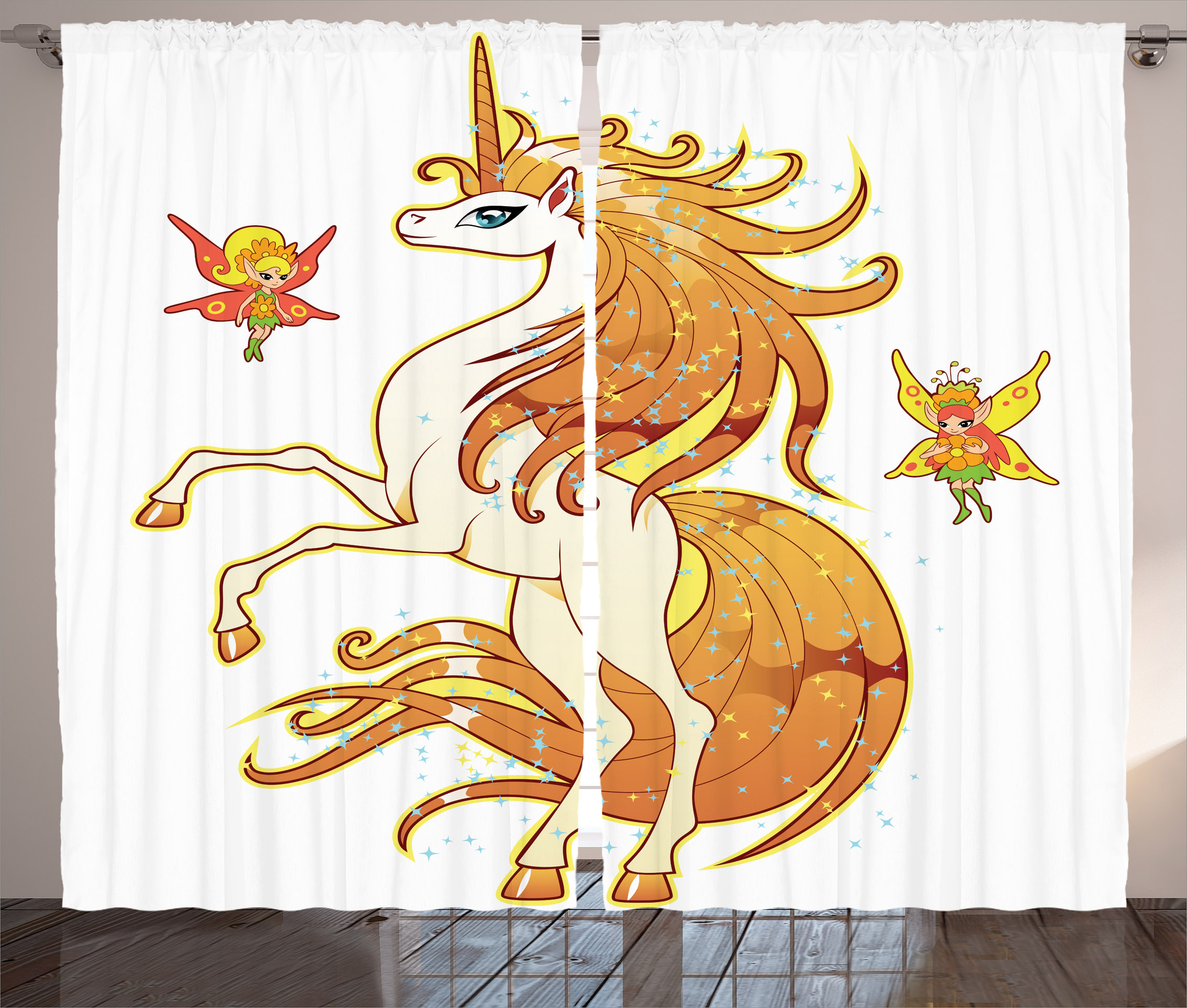 Unicorn Curtains 2 Panels Set Exquisite Bright Hair Unicorn With