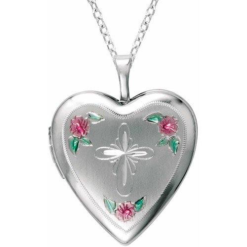 Sterling Silver Heart-Shaped with Cross and Flowers Locket by Generic