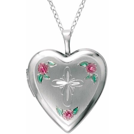 Sterling Silver Heart-Shaped with Cross and Flowers Locket
