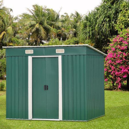 Kinbor 6' x 4' Outdoor Steel Garden Storage Utility Tool Shed Backyard Lawn Tool House Garage Kit Building Green (Pole Building Garage)