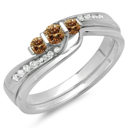 Dazzlingrock Collection 0.45 Carat (ctw) 14K Champagne & White Diamond 3 Stone Engagement Ring Set 1/2 CT, White Gold, Size 7