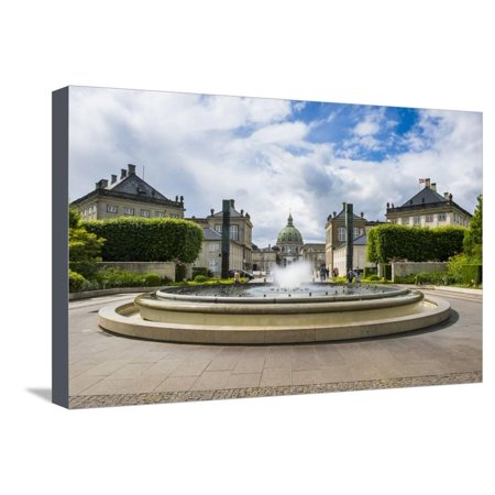 The Fountain in Amaliehaven before Amalienborg, Copenhagen Stretched Canvas Print Wall Art By Michael
