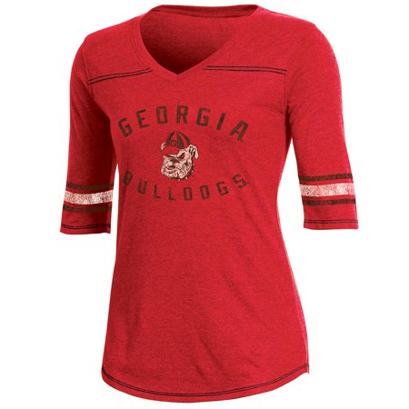 Georgia Bulldog Game (Women's Russell Red Georgia Bulldogs Fan Half-Sleeve V-Neck)