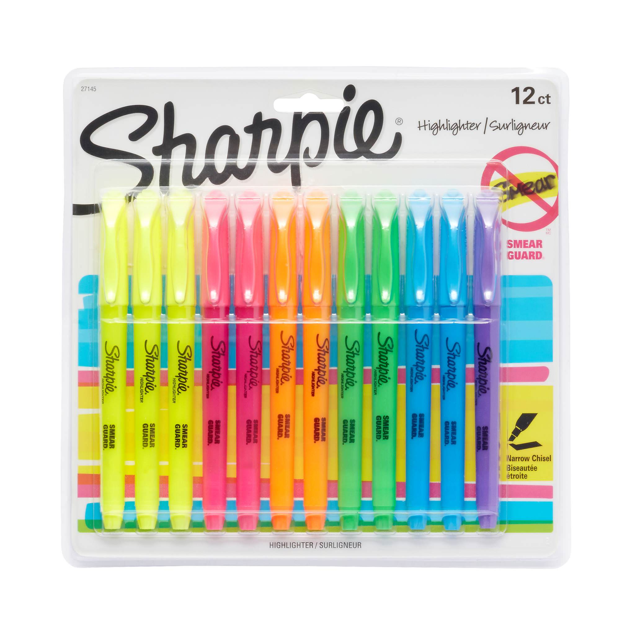 Sharpie Pocket Style Highlighters, Chisel Tip, Assorted Fluorescent, 12 Count