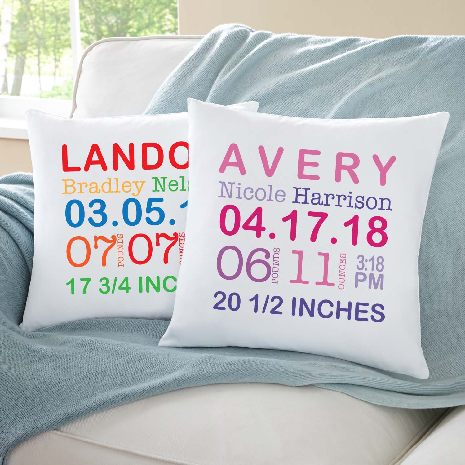 "Personalized Baby Information Pillow 15""x15""-Available in Primary or Pastel"