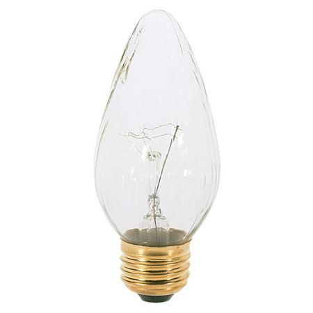 S3367 120V Medium Base 40-Watt F15 Light Bulb, Clear, Watt Brass