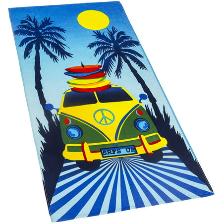Road Trip Velour Beach Towel Surfer Peace Van 30 x 60 inch Summer 100% Cotton Velour Terry