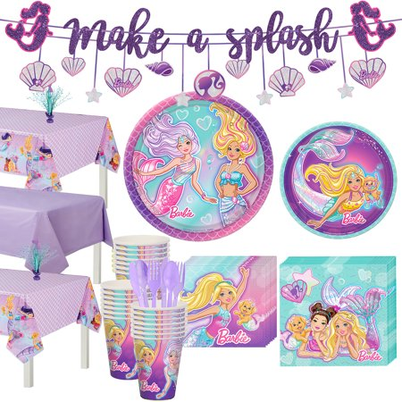 Barbie Party Plates (Party City Iridescent Barbie Mermaid Birthday Party Supplies for 24 Guests, Include Plates, Napkins, and)