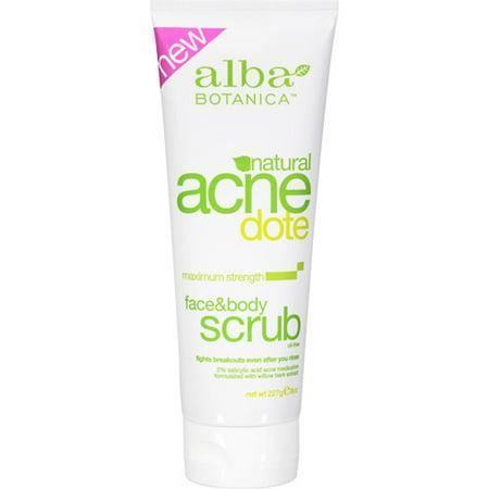 Alba Botanica AcneDote, Face & Body Scrub, 8 Oz