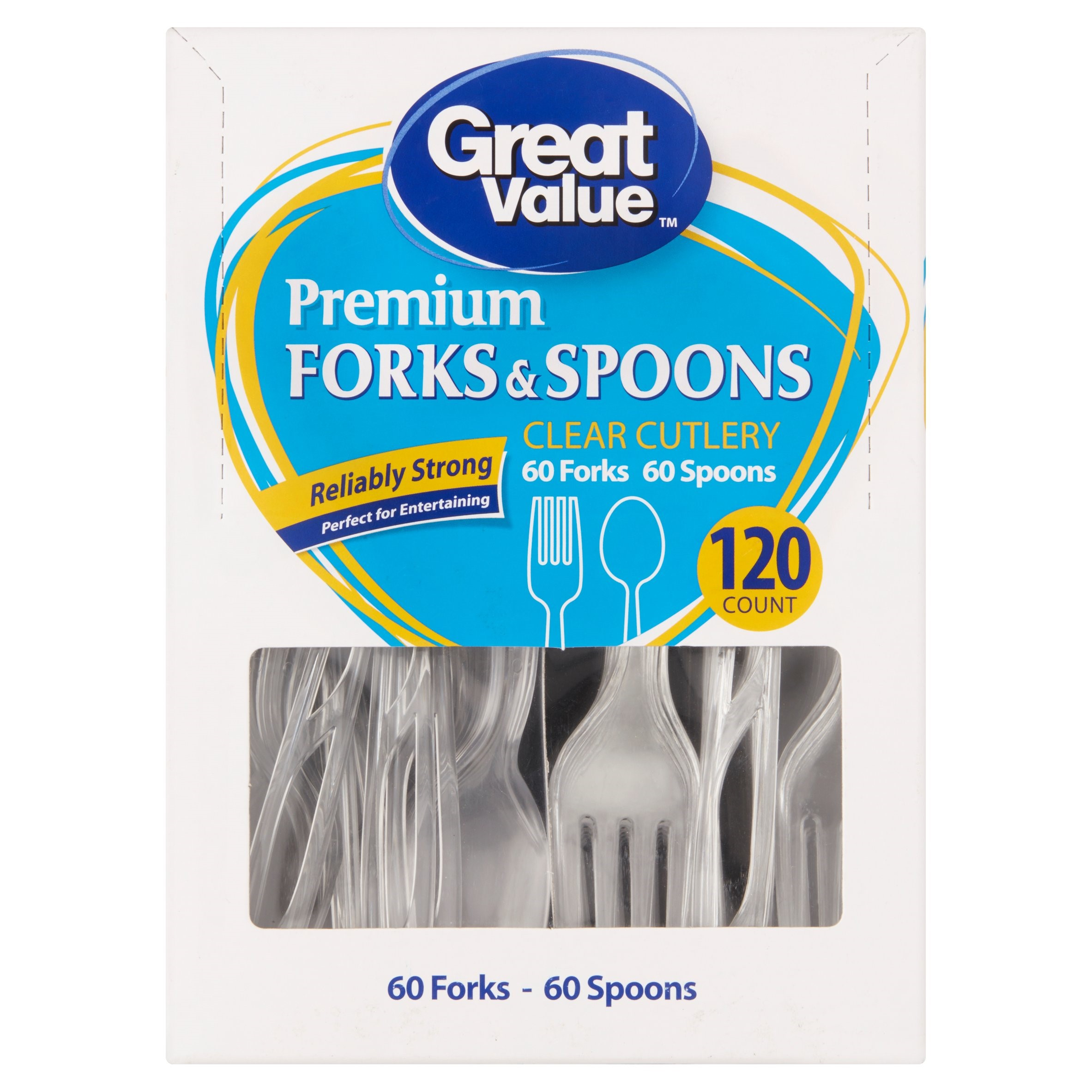 Great Value Premium Forks & Spoons, Clear, 120 Count - Walmart.com