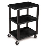 "Luxor 300 lb. 24"" x 18"""" 3-Shelf Black Utility Cart"