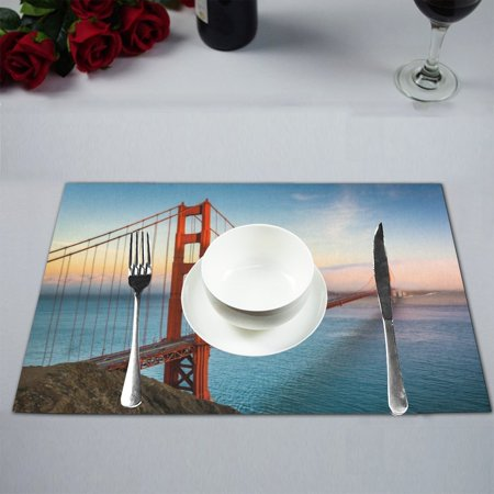 MKHERT Sunset View of The Golden Gate Bridge in San Francisco California Placemats Table Mats for Dining Room Kitchen Table Decoration 12x18 inch,Set of 4 ()