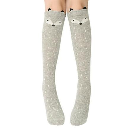 Bear Knee High Socks - Cute Cartoon Animal Cat Bear Fox Ear Cotton over Calf Knee High Socks Christmas Gift,Gray Fox