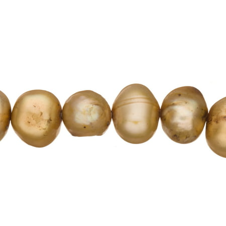 Cream Brown Freshwater Cultured Pearls Natural Half Potato, B+ Graded, 7x5x8mm (Approx.), 15.5Inch Strings/60Pearls