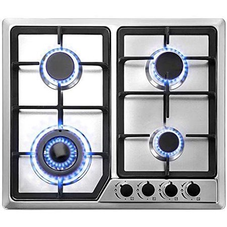 VEVOR 23x20 inches Built in Gas Cooktop 4 Burners Gas Stove Cooktop Stainless Steel Cooktop Gas Hob With Liquid Propane Conversion Kit Thermocouple Protection