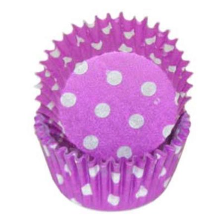 Mini Purple & White Polka Dot Baking Cupcake Liners - 100 Count - Polka Dots Cupcakes