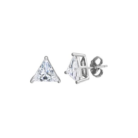 Clear Cubic Zirconia Triangle Stud Earrings Rhodium Plated Sterling Silver 8.8mm