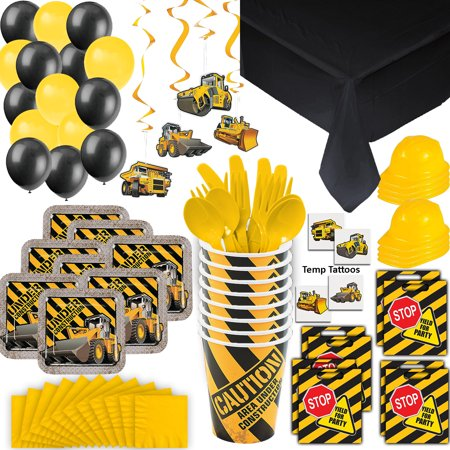 Construction Party Supplies - 8 Guest - Plates, Cups, Napkins, Tablecloth, Cutlery, Loot Bags, Balloons, Hanging Decorations, Hard Hats, Tattoos - Black and Yellow Builder Zone Theme Birthday - Halloween Themed Birthday Party Food Ideas