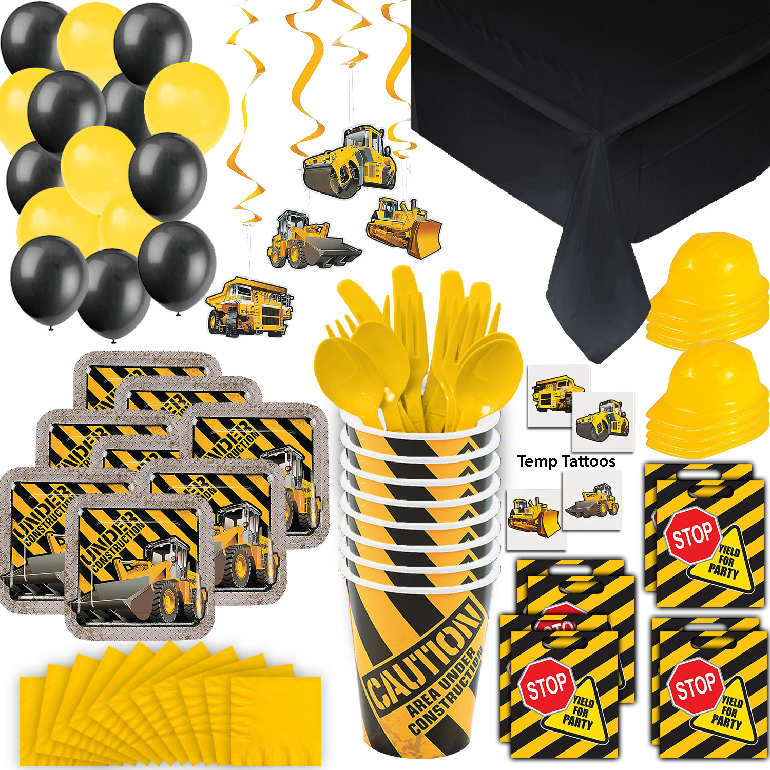Construction Party Supplies - 8 Guest - Plates, Cups, Napkins, Tablecloth, Cutlery, Loot Bags, Balloons, Hanging Decorations, Hard Hats, Tattoos - Black and Yellow Builder Zone Theme Birthday