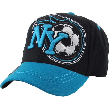 Kid's NY New York Soccer Cap Adjustable Velcro Closure Hat Junior Youth - Soccer Cap
