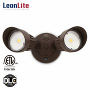 Leonlite 20w Two Head Led Outdoor Security Light Dusk To Dawn Photocell 1800lm